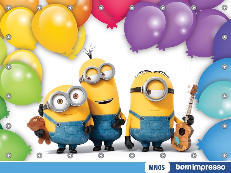 Banner Feliz Aniversario: Painel Minions 1,50x1,00m Lona Festa Aniversario Banner