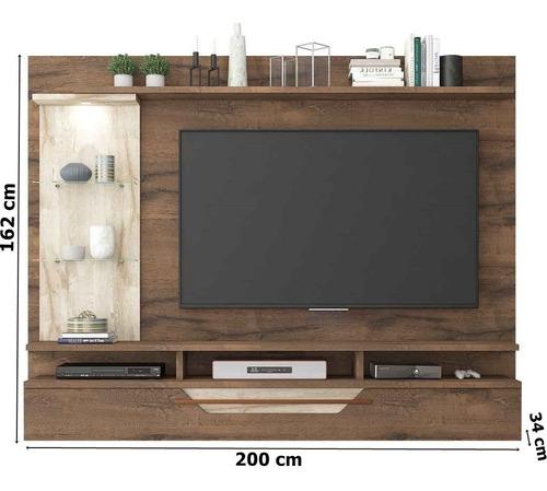 painel para tv 60 polegadas londres permobili café/rústico