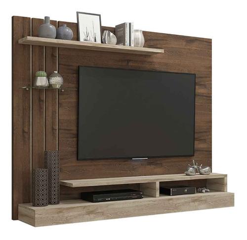 painel para tv com prateleira valência café/rústico permobili