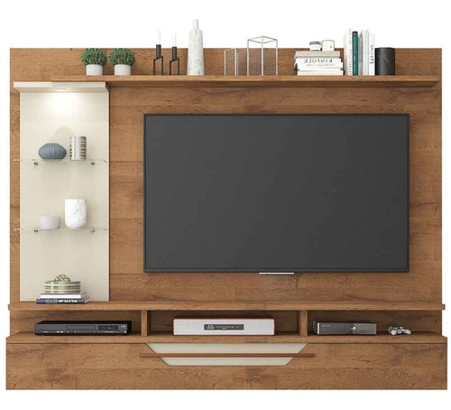 painel para tv de até 50 polegadas com led londres savana/off white permobili