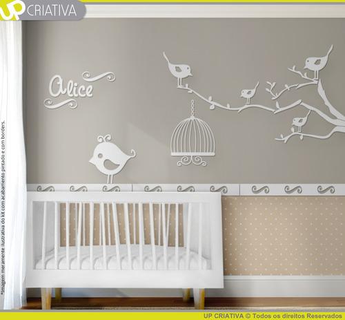 painel pássaros gaiola e árvore para quarto bebê mdf cru