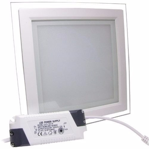 painel plafon 12w quadrado borda vidro 6500k pronta entrega