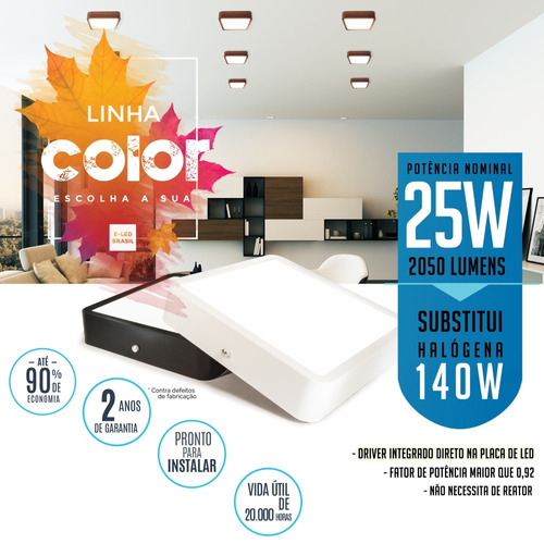 painel plafon sobrepor de led 25w linha colorido
