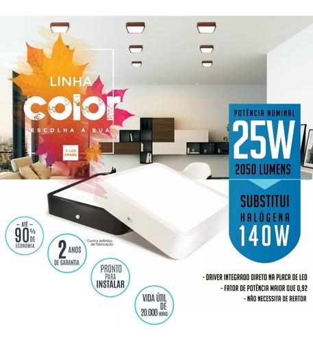 painel plafon sobrepor de led 25w linha colorido moderno