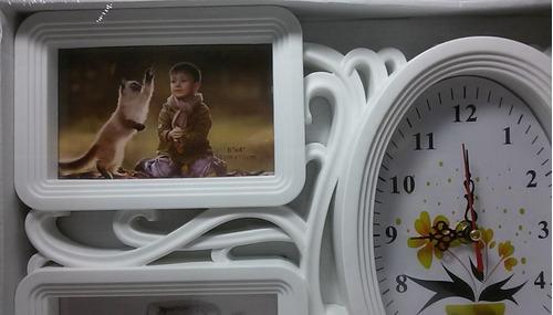 painel porta retrato relógio oval parede  branco 4 fotos