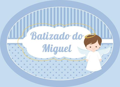 painel poster  festa batizado anjinha anjinho 100x60cm