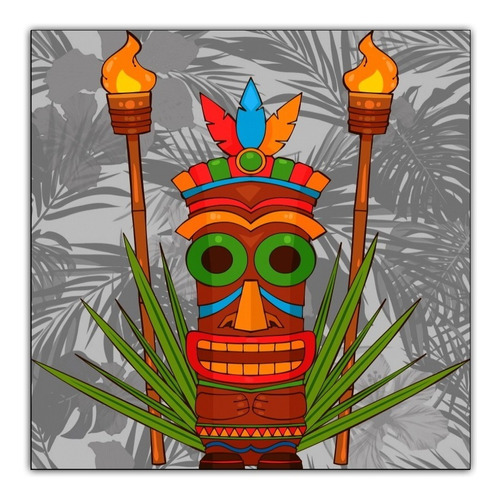 painel poster foto 60x60cm decorar festa havaiana - tiki