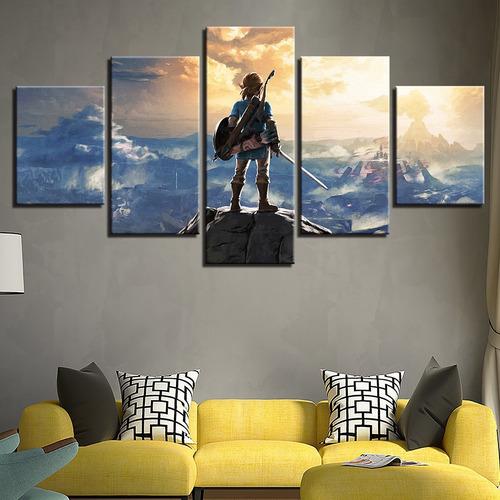 painel quadro 5 partes lenda de zelda nintendo 110cmx55cm