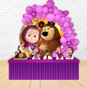 Painel Redondo  Circular Decoração Masha E O Urso + Displays