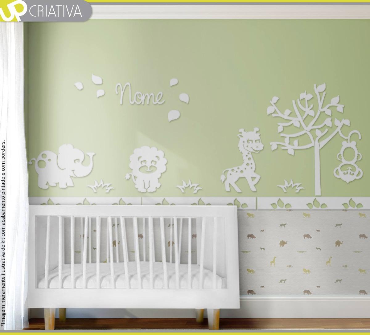 Painel Safari Para Quarto Beb Completa Em Mdf Pintado R 297 99  ~ Quarto De Bebê Safari E Quarto De Bebe Criativo