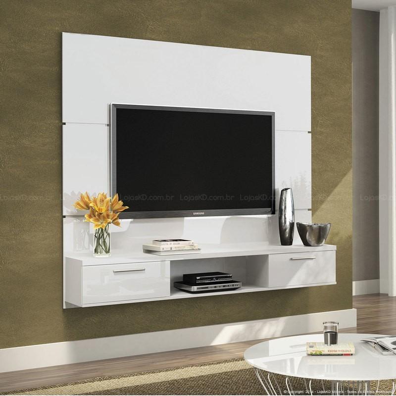 Painel suspenso flat branco tv led plasma sala hb m veis - Armario de la tv ...