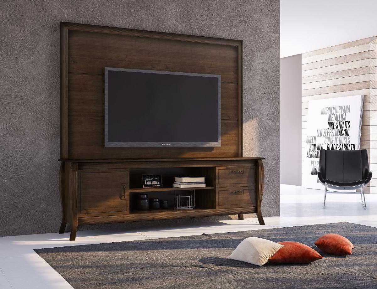 05d734246 Rack Com Painel Madeira Robusto Maciço Sala Tv Completa Luxo - R ...
