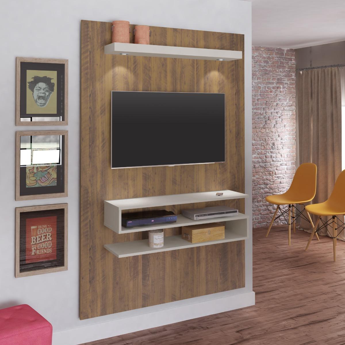 Painel Sala Tv Madeira Artely Nexus 2 Nichos Pinho Luz Led R 319  -> Sala De Tv Tamanho