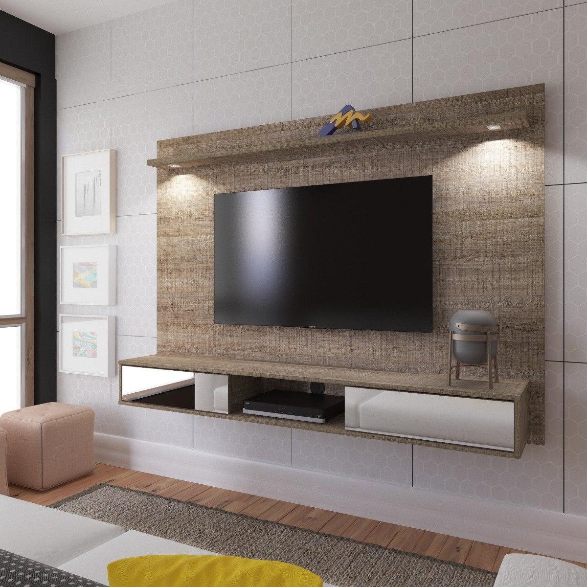 Painel Sala Tv Madeira Artely Platinum C Espelho Canela
