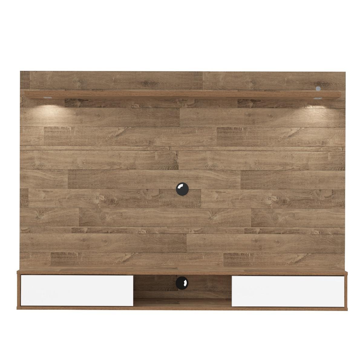 Painel Sala Tv Madeira Artely Platinum Espelho R Stico Led R 413  -> Sala De Tv Tamanho