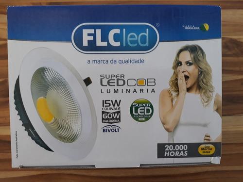 painel spot luminária led cob 15w 3000k flc (3 peças)