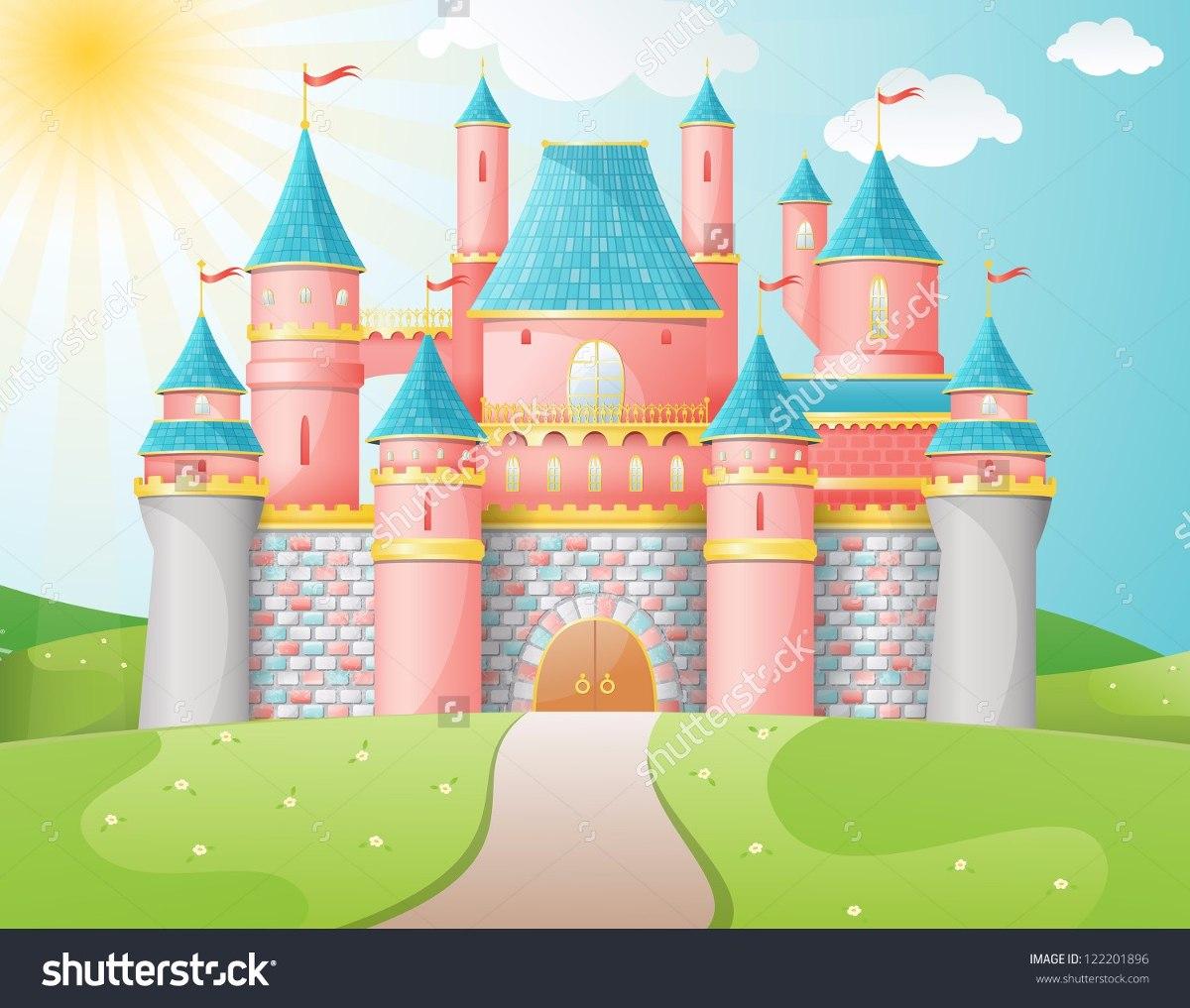 Painel Sublimação Em Tecido Desenho Castelo Rosa 1,5 X 2,5