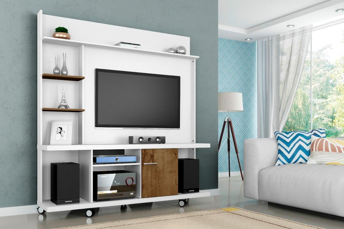 Painel Tv Home Taurus Com Rack Bancada Cor Branco Madeira R  ~ Painel Para Tv Quarto Com Bancada