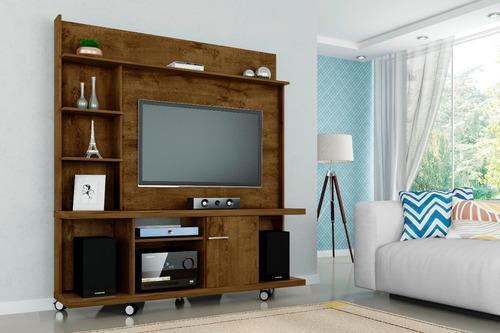 painel tv taurus com rack bancada cor madeira rustica