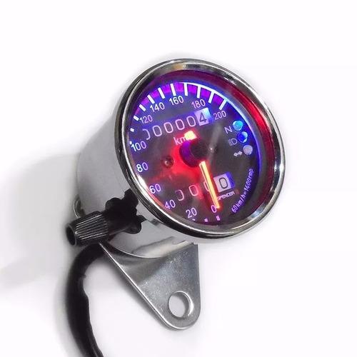 painel velocímetro universal moto custom cafe racer crom