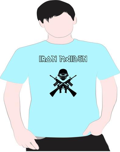 paint camiseta iron  maidem azul 6