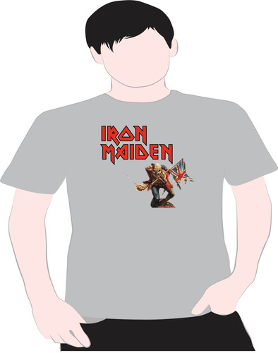 paint camiseta iron  maidem cinza 2