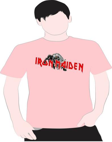 paint camiseta iron  maidem rosa  5