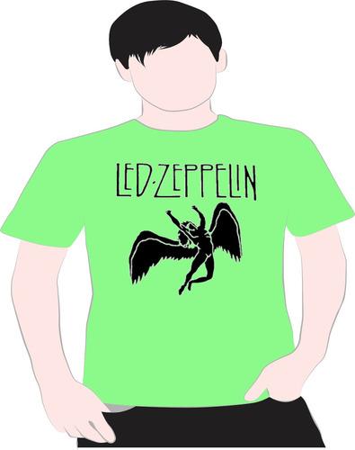 paint camisetas led zeppelin verde
