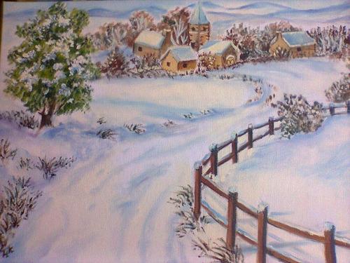 paisagem de inverno - óleo sobre tela decoração