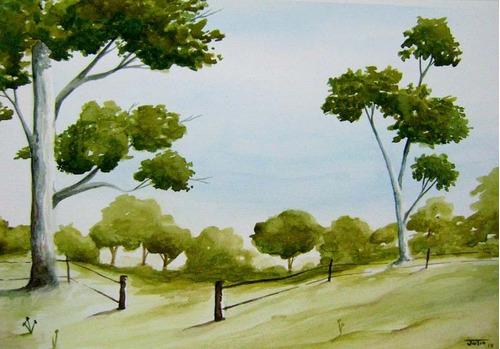 paisagem em aquarela - (42 x 29) - frete grátis!!!