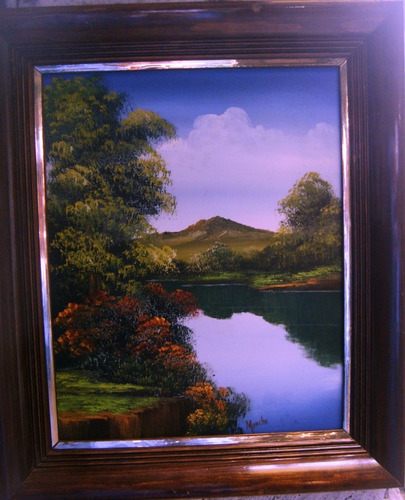 paisaje al óleo, hermosa pintura sobre madera