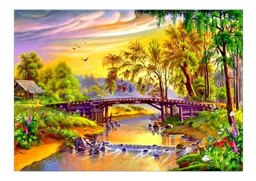 paisaje colorido m007 cuadro de arte de la pintura diy hecho