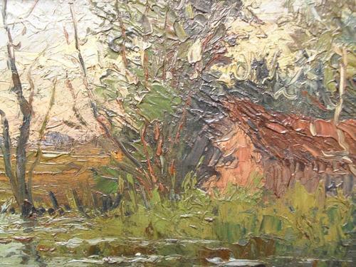 paisaje con laguna - oleo original de carlos binaghi