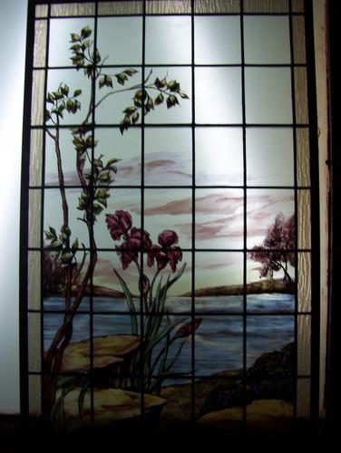 paisaje en vitreaux  0,74 x 1,18 pintado a fuego ar en plomo