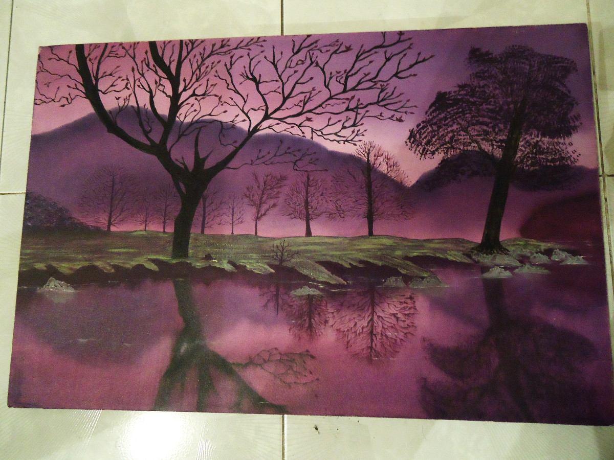 Paisaje pintado a mano 100 oleo decoracion hogar 40 x 60 for Decoracion y paisaje s a
