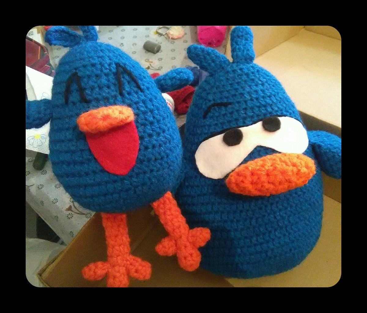 pajarito y pajaroto pocoyo crochet muñecos amigurumi 26 cm