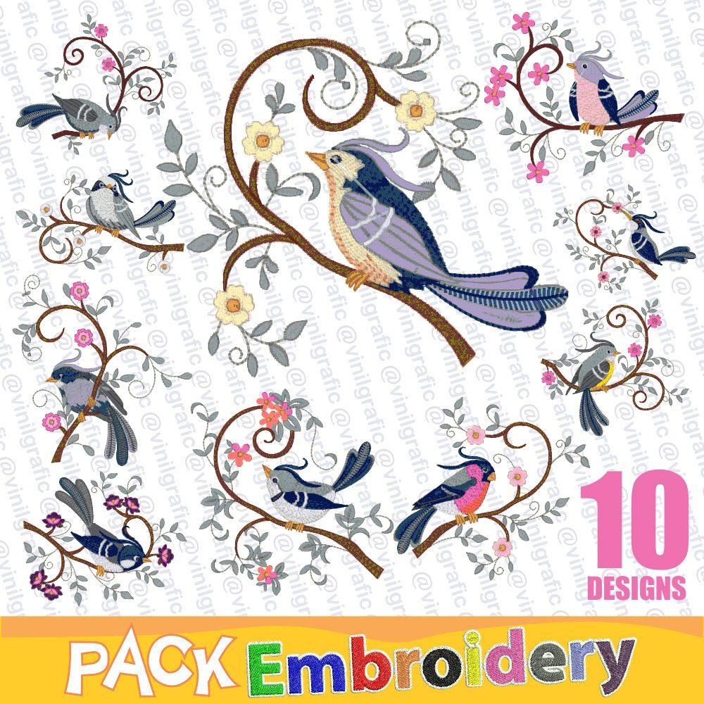 Pajaros Azules Set 10 Diseños Listos Para Bordar Bordados - $ 90.00 ...