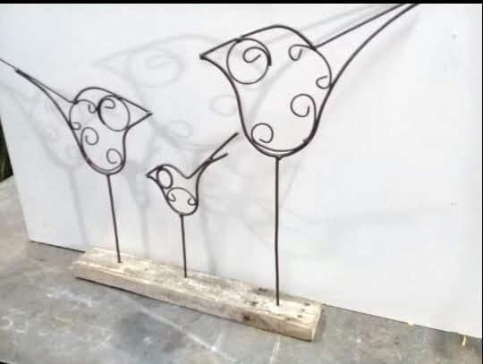 Pájaros De Hierro Decoración Hogar Local Recepción Patio Terraza Galería Piscina