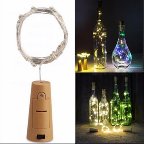 pak 10 luces led con corcho para botella - decoración