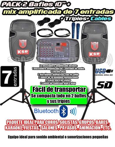 pak bafles bocinas tripie mezcladora amplificada bluetooth