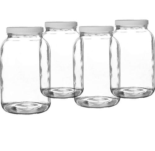 pakkon frasco de boca ancha de vidrio mason con plasticlid /