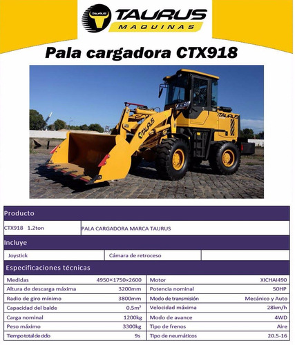 pala cargadora 0.55m3 taurus ctx 918. op.vial. financiación