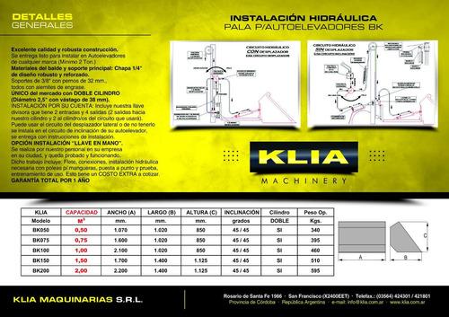 pala cargadora autoelevador 0,75 m3 cil. doble (4 cheques)