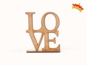 Palabra Love De 20 Cm Con Signo De La Paz En Mdf Artesanias Arte Y