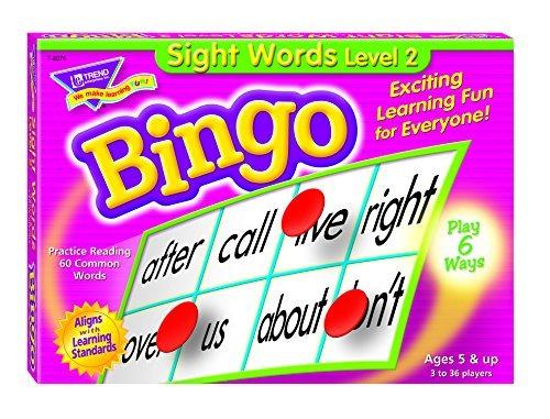 palabras de vista de nivel 2 del juego del bingo