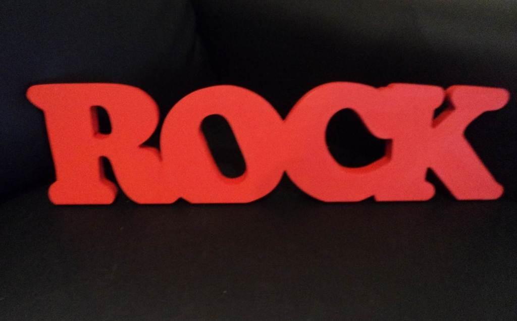 Palabras Decorativas En Madera - Rock - $ 250,00 en Mercado Libre