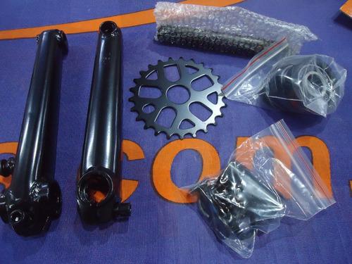 palancas bicicleta bmx 3 piezas tubulares 175mm + engranaje 25d - racer bikes