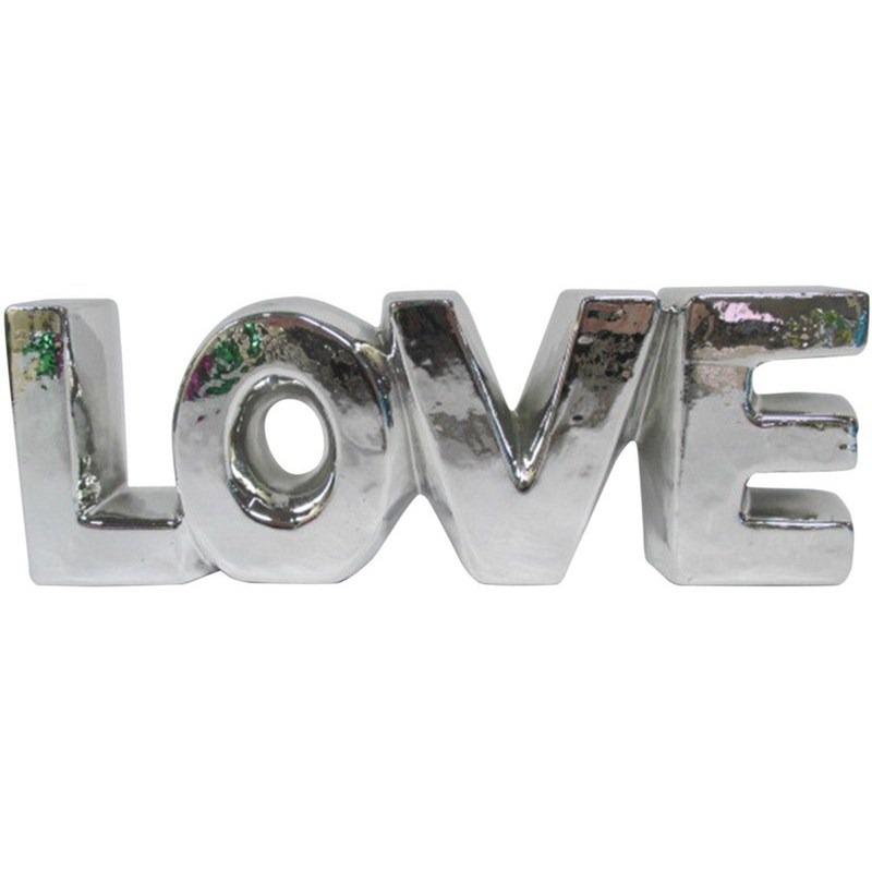 5c8fc16a6 palavra decorativa prata em cerâmica rustic love urban. Carregando zoom.