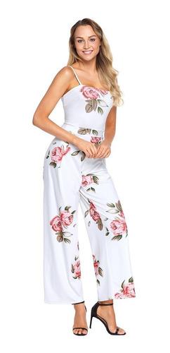 palazzo blanco jumpsuit floreado tirantes playa ligero