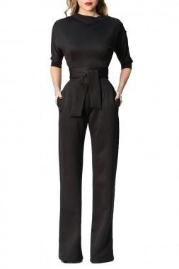 palazzo negro un hombro jumpsuit moda cinto casual pantalón